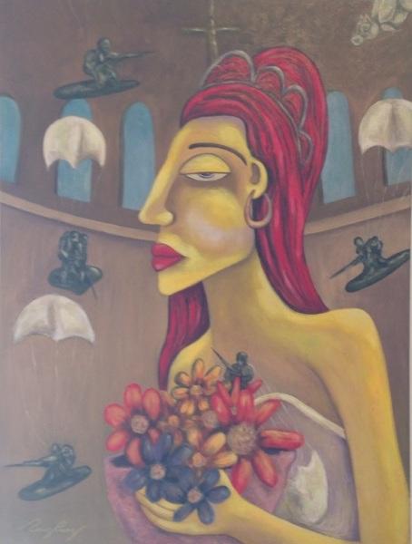 "La obra ""La novia II"", del artista Edward Pérez Pérez,  forma parte de la exposición ""Paradigmas en un paisaje utópico I""."