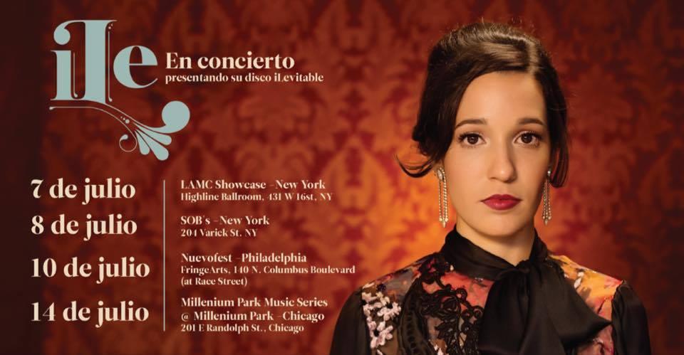 Promoción cibernética de las próximas presentaciones de la cantante en Estados Unidos.