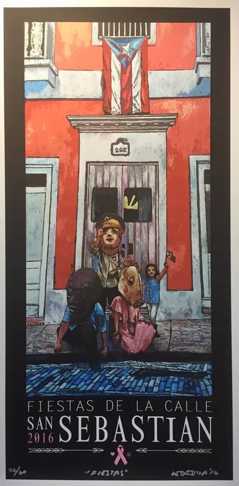 Cartel conmemorativo de las fiestas de la calle San Sebastián 2016 del artista Erick Ledesma. (Foto suministrada)