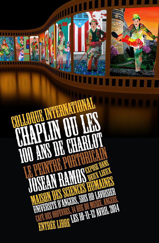 """Afiche de la exposición """"Simultáneas de Chaplin"""" que el pasado abril presentara el artista puertorriqueño Josean Ramos en París. (Foto suministrada)"""