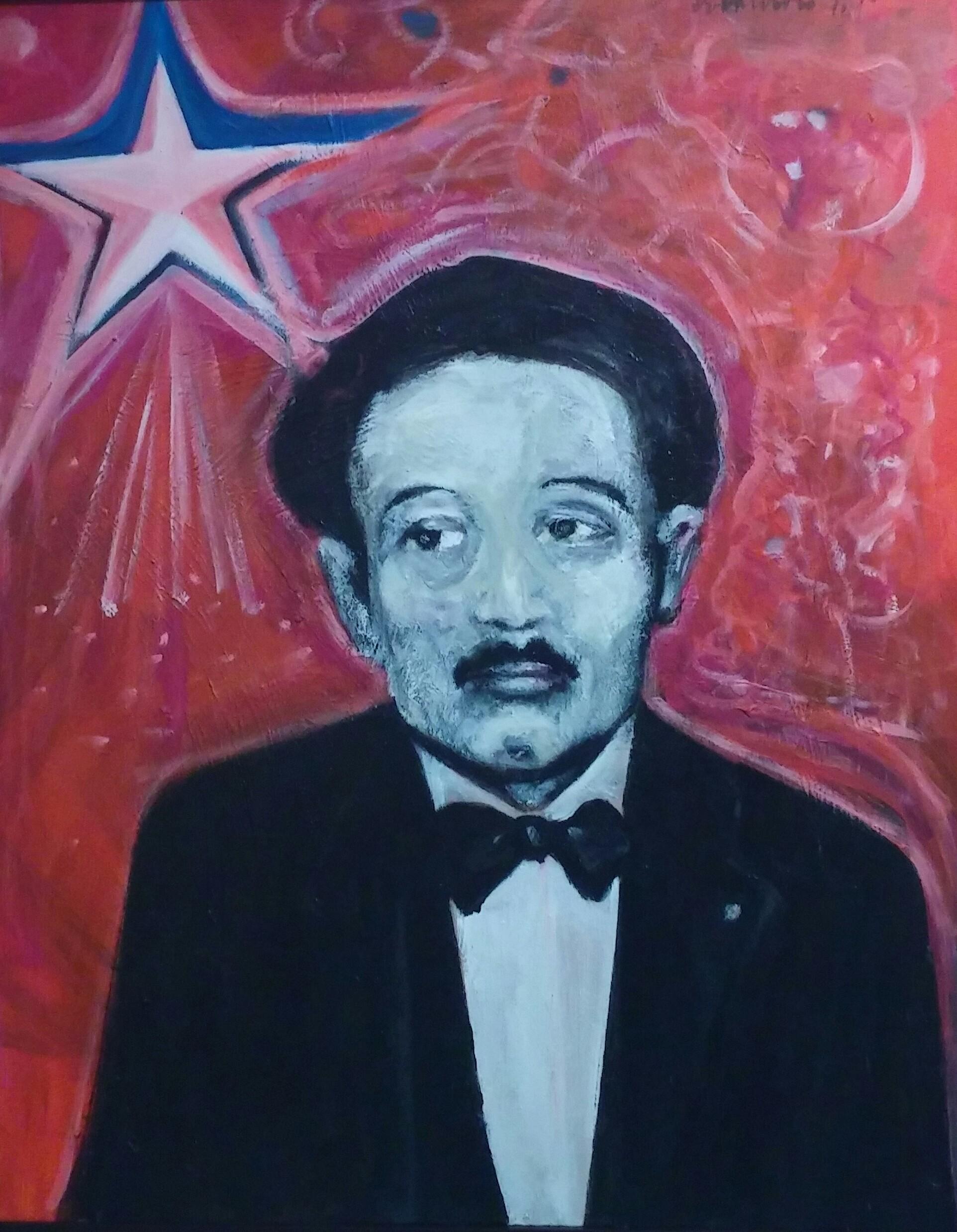 Don Pedro Meditando, acrílico sobre lienzo (2010) de Antonio Carrión Torruellas. (Foto Gabriela Ortiz para Fundación Nacional para la Cultura Popular)