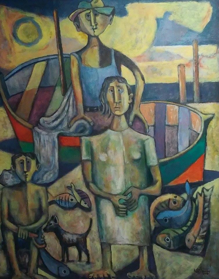 """La obra """"Familia de pescadores"""" fue realizada en 2007 por el artista Luis Manuel González."""