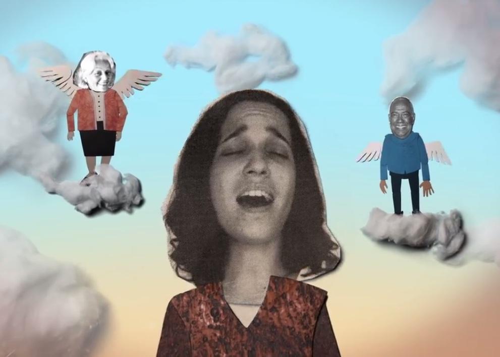 """Para el vídeo """"Dolor"""" en el que iLe y Cheo Feliciano cantan el bolero de doña Flor, se utilizó un montaje en caricaturas desarrollado por Joe. (Foto pantalla iLe haciendo iLevitable)"""