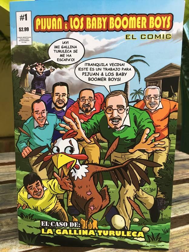 Portada del comic de Pijuan y Los Baby Boomer Boys ilustrado por el artista Juan Carlos Báez. (Foto suministrada)