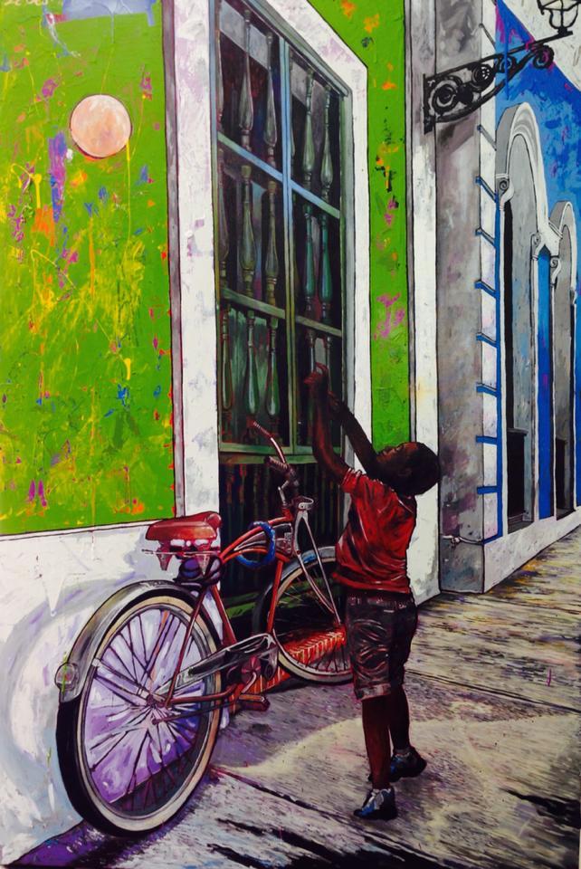 Pintura de Erick Ledesma que capta una escena cotidiana en el Viejo San Juan. (Foto suministrada)