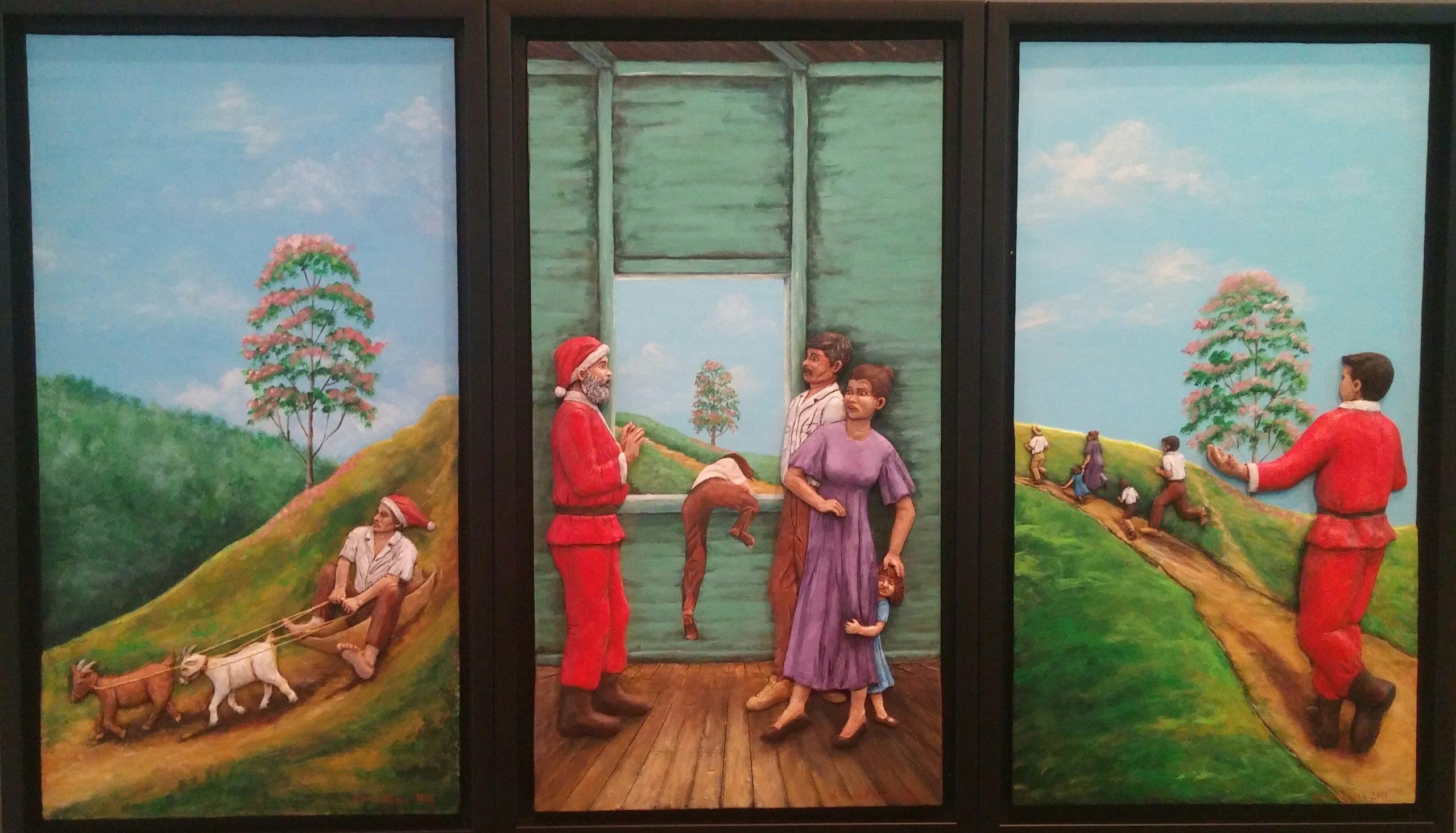 Santa Clo va a la cuchilla, medio mixto de Denise Rivera, es parte de la exposición que celebra el centenario de Abelardo Díaz Alfaro. (Foto Gabriela Ortiz para Fundación Nacional para la Cultura Popular)