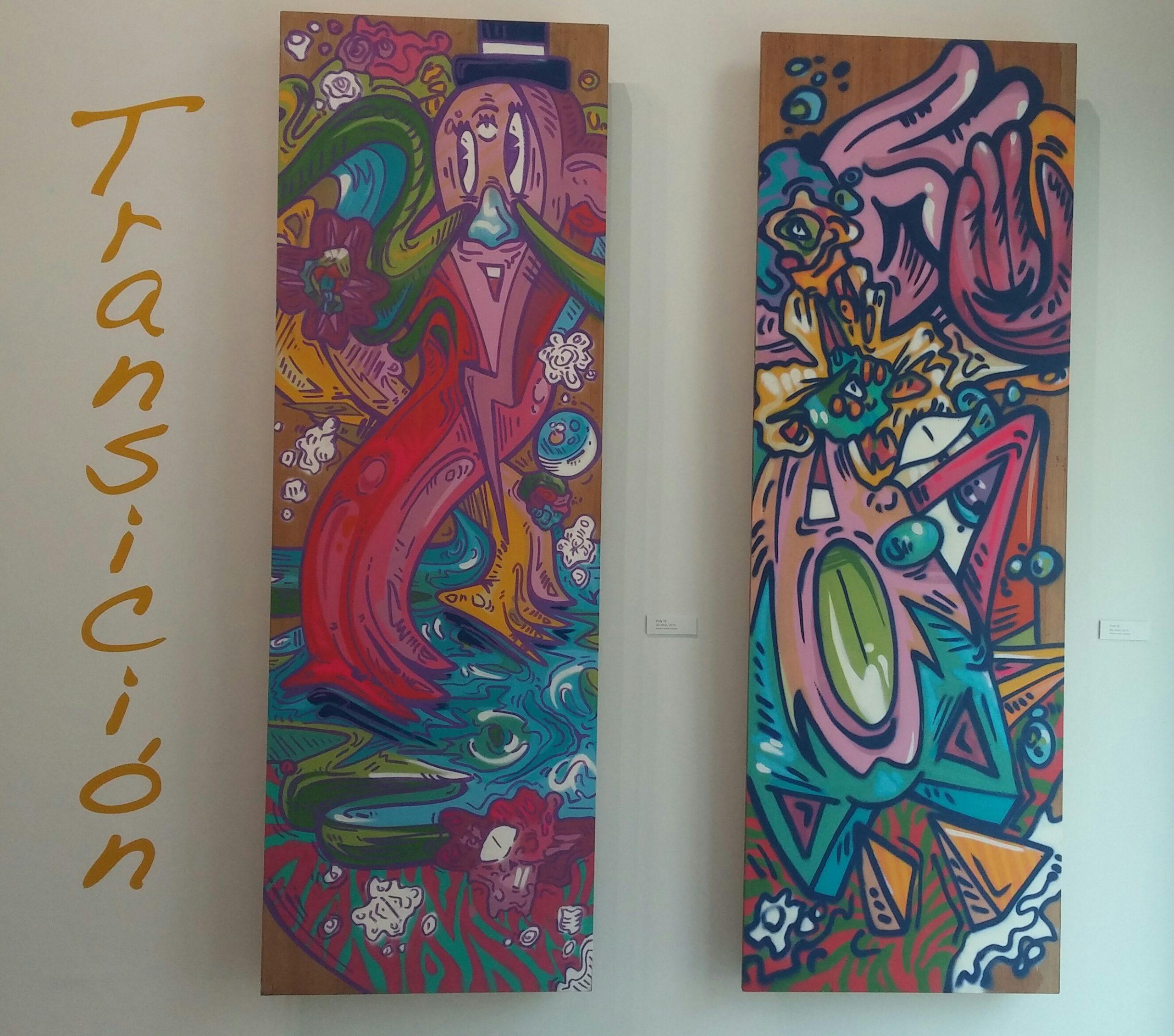 Una de las piezas creadas por Pun 18 encabeza la exposición. (Foto Gabriela Ortiz para Fundación Nacional para la Cuiltura Popular)
